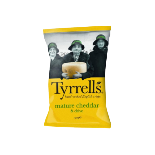 Tyrrell's Mature Cheddar and Chive English Crisps 150g